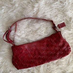 Latico Braided Red Leather Shoulder Bag
